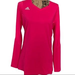 ADIDAS Climalite Volleyball Pink V neck Top NWT